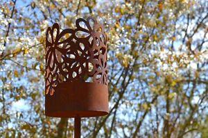 Windlicht Hippie Rost Edelrost Metall Deko Gartenstecker Geschenk Gartendeko
