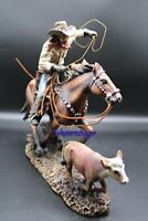 Western Cowboy Roping Calf Sculpture Statue Large Hand Painted