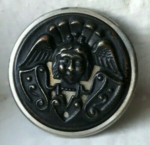 """34mm Antique brass & white metal picture button~twinkle back~ANGEL~1-5/16"""""""