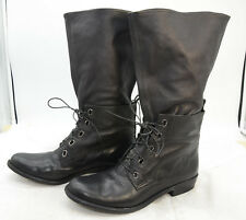 7 for All Mankind Womens Sz 9 Laced Mid-Calf Boho Leather Black Riding Boots