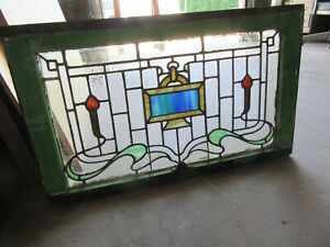 ~ANTIQUE STAINED GLASS TRANSOM WINDOW 2 OF 2 ~ 32.5 X 19.5 ~ SALVAGE