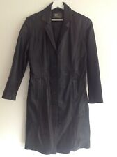 "Aviatrix Black Leather Trench Coat Bust 40"""