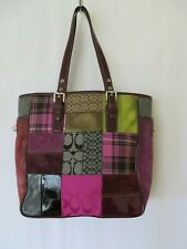 Coach Purse Suede Patchwork Violet Burgundy Wine #0112