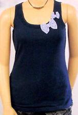 Nuovo Donna che Fa Risaltare la Figura Top Blu Scuro senza Maniche Bianco