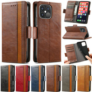 For iPhone 12 11 Pro Max XS Max XR 7 8 Plus Retro Wallet Leather Flip Cover Case
