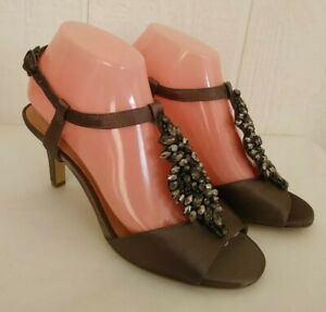 "Alex Marie Layna Brown Satin Jeweled Open Toe T Strap 3.25"" Heel Sandals 7.5 M"