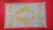 Vintage Hand Embroidery Yellow Floral Rectangle Fabric Doilie Free Shipping