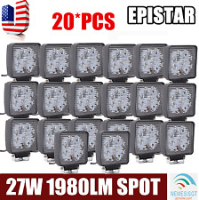 20Pcs 27W Spot Square Offroad Fog DRL SUV Truck 4WD LED Work Light Bar Boat Jeep