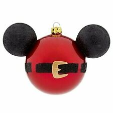 Disney Santa Mickey Mouse Ears Icon Large Glass Christmas Ornament New w/ Tag