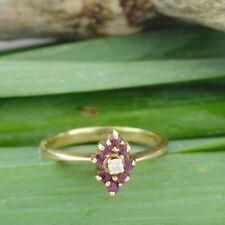 10k Yellow Gold Estate Diamond & Ruby Multistone Ring Size 3.5
