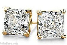 4carat tw PRINCESS CZ Solid 14K Yellow Gold Stud Earrings AAA D-Flawless SPARKLY