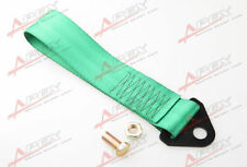 GREEN HIGH STRENGTH RACING TOW STRAP SET FOR FRONT/REAR BUMPER HOOK TRUCK/SUV E
