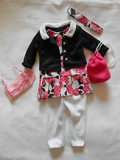 "18"" inch doll outfit dress jumper leggings jacket glasses case bag headband pant"