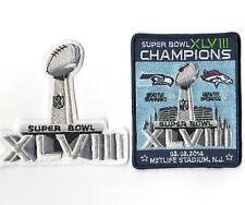 SUPER BOWL XLVIII SUPERBOWL SB 48 CHAMPION Seahawks rout Broncos 2-PATCH SET c