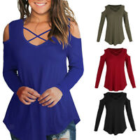 Women's Cold Shoulder Long Sleeve Solid Criss Cross Front V-Neck T-Shirts