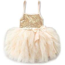 Flower Girl Sequins Princess Dress Kids Party Wedding Pageant Tulle Tutu Dresses