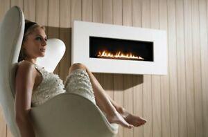 Acquisitions x fire flueless widescreen gas fire in natural limestone