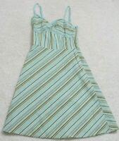 Ann Taylor Loft Dress Woman's Sleeveless Size Zero 0 White Blue Green Cotton Etc