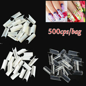 500Pcs Well Less Nail Tips C Curve Shape Acrylic Uv Gel False- Natural/Clear