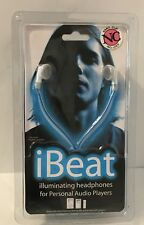 IBEAT Headphones Works With MP3 & IPOD Blue Glowing Cable