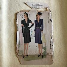 "McCall 5814 vintage sewing pattern dress 1940s v neck gathers size 18 bust 36"""