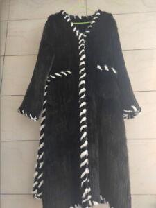 HandMade Knitted Genuine Mink Fur Coats Ladies Long Jacket Fur Clothing Vintage