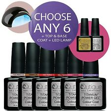 QUTIQUE Gel Nail Polish Colour Kit inc LED Lamp -ANY 6 Colours -Prof Quality