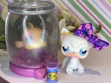 Authentic Littlest Pet Shop Lps #9 #10 Longhair Angora Cat & Gold Fish Bowl