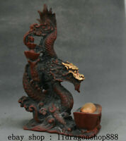 "9,6"" Chine Rouge Bronze Doré Feng Shui Zodiac Animal Dragon Bead Chanceux Statue"