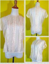 Rare ORIGINAL JAMI 1950s Vintage Sheer Nylon and Lace Blouse - Size 42 - USA