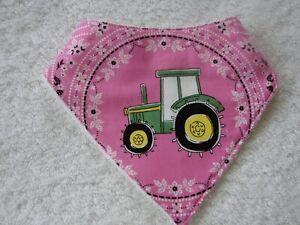 Pink John Deere Bandana Dribble Bibs Cotton Front Towelling Back Handmade