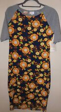 NEW ladies LULAROE blue & gray floral JULIA Size Small