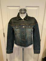 """BCBG Max Azria """"Maya"""" Blue Denim Jean Jacket w/ 100% Leather Upper, Size XXS"""