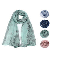 Women Classical Print Scarf Sun Protection Gauze Kerchief Scarf Wrap Shawl Stole