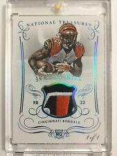 1/1 Jeremy Hill 2014 National Treasures Rookie Bengals Logo Patch