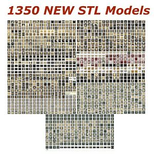 1350 NEW 3d STL Models for CNC - Compatible with Artcam Aspire Cut3d 3d-Printers