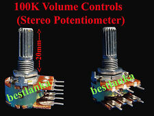 3pcs 100k volume control Stereo Potentiometer Dual Audio Rotary Control