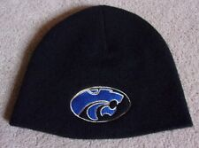 NWOT~KANSAS STATE~KNIT CAP/BEANIE~UNBRANDED~BLACK/ROYAL~ADULT O/S~GO WILDCATS!