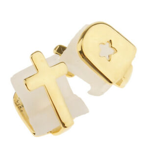 2 Pieces 18K Gold Plated Hip Hop Teeth Fangs   Caps Top & Bottom Grill Rapper