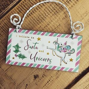 Santa and unicorn Christmas sign plaque wooden girls hanging bedroom Xmas