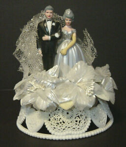 Vintage Wilton 25th Anniversary Wedding Cake Topper Silver Bride Groom Hong Kong