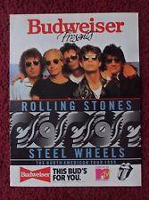 1989 Print Ad Bud Budweiser Beer ~ Mick Jagger ROLLING STONES Steel Wheels Tour