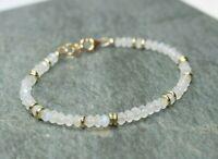 Natural Moonstone Faceted Gemstone Beaded Bracelet 14k Gold Over Beads & Clasp