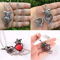 Cute Owl Locket Necklace Perfume Fragrance Essential Oil Aromatherapy Diffuser +