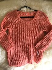 anthropologie knitted and knotted sweater, peach, sz xs