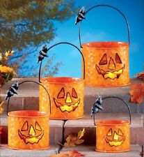 Autumn Harvest Fall Pumpkin Halloween Bucket Candle Lantern Tins Set of 4 NEW