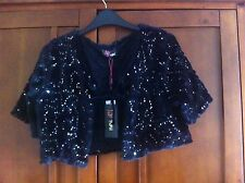 Yumi Black Sequin Bolero Jacket Ribbon Tie Up Size L New with Tags