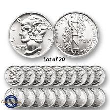 Lot of 20 - New 1/10 oz Mercury Design .999 Fine Silver Rounds