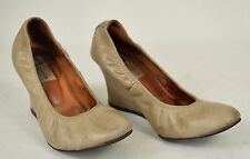 Lanvin Shoes Leather Ballerina Ballet Wedge Brown Heel 36 Womens France