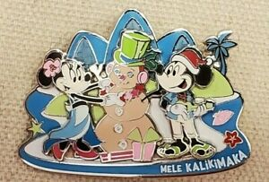 Aulani Mickey & Minnie Mouse Mele Kalikimaka Holiday Pin Disney 2019 LE 1000